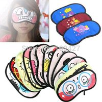 Wholesale New pc Cute Facial Expression Eye Mask Cover Shade Blindfold Sleeping Travel Sleep Aid Cover Light Guide