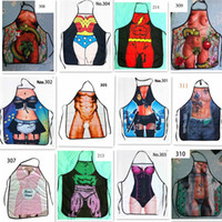 funny novelty aprons - 100pcs Sexy Men Women Apron superhero Apron spiderman avengers Batman Kitchen Cooking Chef Novelty Funny Naked BBQ PartyFunny Person D478
