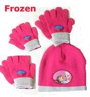 Wholesale Frozen Gilrs Hat Gloves Set Colorful Children Girls Winter Warm Knitting Hat Gloves Sets MOQ