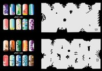 Wholesale 2015 set colorful unit7 Design airbrush Nail Stencil Sheet For Airbrush Paint Spray Compressor Kit