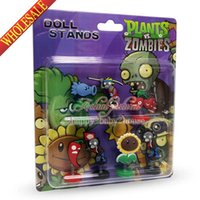 Wholesale 7PCS Hot Games Plants VS Zombies Novelty Spring dolls Action Figures Stand up dolls Furnishing articles dolls Shaking Head Dolls