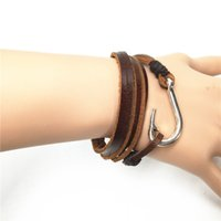 leather charm bracelet - Genuine Leather Bracelets Handmade New Punk Brown Vintage Anchor Fish Hook Bnagle for Homme Men Jewelry Accessories