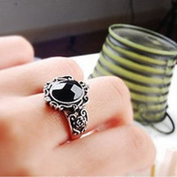 Cheap Fashion Vintage Carving Black Gem Stone Ring Boho Magic Mirror Rings For Women