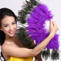 plastic hand fan - Peacock Feather Fan Vintage Party Costume dance wedding favor home decorations Folding Feather Fan Halloween Stage Performances Craft