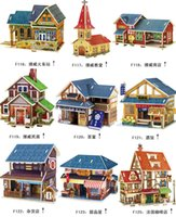 Wholesale country famous building puzzle kids wooden puzzles D famous model building toy adult child kid favorite puzzles