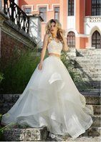 apple cutouts - Roberto Motti Wedding Dress Crop Top Ball Gowns Beading Tiers Organza Cutout Two Piece Wedding Princess Gown Beach Fall Bridal Dress