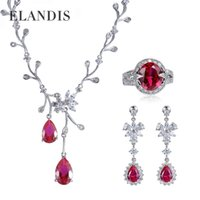 Wholesale ELANDIS cubic zirconia jewelry drops of water ruby earrings ring necklaces pendants statement three pieces jewelry sets BS00224