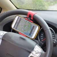 Wholesale Universal Car Steering Wheel Holder for iPhone S C Galaxy S4 S5 S6 Mobile Phone Holder GPS MP4 PDA order lt no tracking