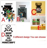 Wholesale 50PCS Minecraft Wall Stickers Creeper Enderman Wallpaper Cartoon Decals for Room Decor D Walls Stickers Style Minecraft Stickers