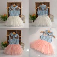 Wholesale Cute Kids Girls Princess Denim Strap Veil Baby Dresses Toddler Clothing M Y