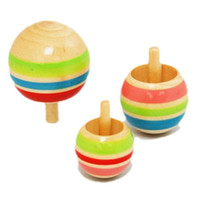 Wholesale Novelty Wooden Colorful Spinning Top Kids Wood Children s Party Toy Stock Offer Hot Selling