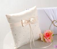 Wholesale Beautiful Wedding Ivory Crystal Rhinestone Stain Ribbon Bridal Ring Pillow Beaded Bowknot Ring Pillow Wedding Supplies