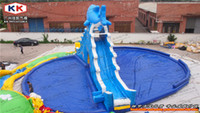 21*20m or customs big inflatable slides - inflatable amusement water park Shark inflatable water slide with big pool