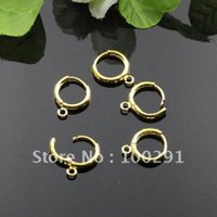 Wholesale 200piece mm Gold Plated One Touch Round Earwire Finding Earring hoop NICKEL FREE