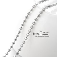 stainless steel necklace clasp - 60cm Silver Stainless Steel Beads Chain Lobster Clasp Metal Fadeless Necklace Accessoies VC Vocheng Jewelry