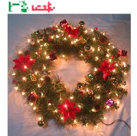 christmas wreath ring - 2015 Christmas Decoration CM Lamp Light ring production decorative wreaths Christmas Decorative Flowers hanging pendant