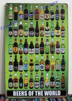 tin sign - Beers of The World Tin Sign Metal Wall Art Beer Sign For Home Bar Pub Wall Decor Beer Poster x20cm S67649