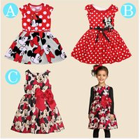 Wholesale 2015 New summer girl dress Minnie Mouse Dress girls clothes printing dot sleeveless dress dress girl fashion