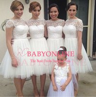 Wholesale Gorgeous Bridesmaid Dress Little White Short Cheap Bateau Lace Short Sleeves Sheer Neck Short Party Prom Dresses BO7070
