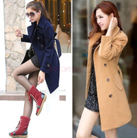 Women cashmere coats - Vintage Women s Winter Wool Trench Coat Classical Fashion Womens Outerwear Casual Cashmere Coats With Belt OL Lady Abrigos Mujer