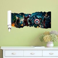 Wholesale Wall Stickers Home Décor Avengers Captain America D Wall Sticker Wall Decals WALL STICKER Decor Art Mural Iron Man Hulk for Boy Room WS4007