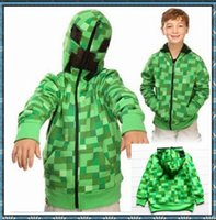 full zip hoodie - 10T T Retail Minecraft Boys Zip up Hoodie Jacket Creeper Premium Costume minecraft clothes for students Kids Boy