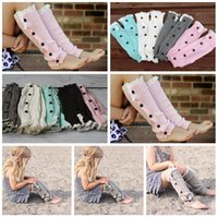 Women baby down boot - 2014 New Hot Sale kids Long solid button down Lace Knitted Leg Warmers baby girls boot cuff women lace knit leg warmers LJJD913 pairs