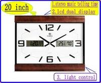 quartz clock - multifunction inch stereo music telling time wall clock quartz wall clock lcd dual display clock light control chime wall clock