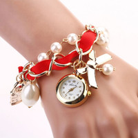attractive clock - Attractive Colors Quartz Watch Womens Fashion Casual Watches Clocks Ladies Artificial Pearl Bowknot Bracelet Wristwatches