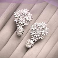 big diamond stud earrings - 2015 Hot Sale Silver Big Earrings For Women Diamond Crystal Bead Shining Wedding Earring Stud Earring Fashion Pageant Jewelry Accessories