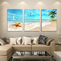 Wholesale 3 Panel Large Beach Canvas Seascapes Palm Tree Paintings Piece Wall Art Coconut Home Decor Sea Pictureunique gift T