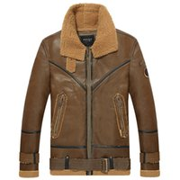 air force europe - Fall men s military air force one jacket Europe velvet thickening outfit leather leather bomber jackets winter fur jacket