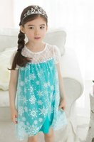 Wholesale Baby frozen dress girl Elsa Dress new girls princess lace blue party casual summer dresses baby kids clothes