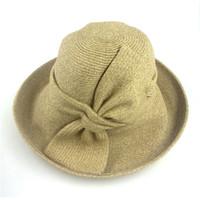 Nouveau gros arrivée heavey de haute qualité de la paille classique chapeau pliable canotier avec bowknot pour les femmes plage chapeau de soleil chapeaux dames d'été