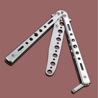 Wholesale NEW Arrival Metal Folding Practice Knives Trainer Training Balisong Butterfly Knife Dull Tool