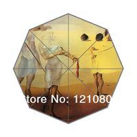 auto fabric paint - New Custom Umbrella Salvador Dali painting Background Auto Foldable Umbrella Good Gift Idea