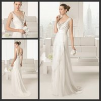 A-Line Reference Images V-Neck Gaceful Stone Jeweled V Neck Empire A-line Ruffles Skirt White Chiffon Bridal Gowns for Garden Wedding Minimalism Low Back Bridal Dresses