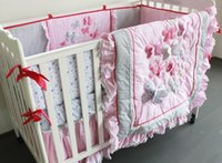 baby beding set - Fashion Baby bedding sets Embroidery D Butterfly Crib bedding set Pink contains Qulit Bed around Mattress Cover Bed skirt Cot beding set