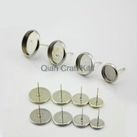 bathroom components - 200pcs Inner tray Silver Earstuds Ear Stud Earring Components mm mm mixed sizes silver tone