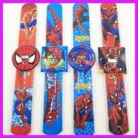 Wholesale Creative PVC waterproof Spiderman pops ring watch Slap watch snap gifts children s electronic watch gift