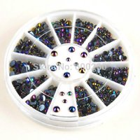 Wholesale 300pcs3D Nail Art Tips Crystal Glitter Rhinestone Pearl Decoration black nail art nail