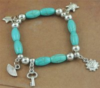 Wholesale NEW fashion turquoise beads bracelets Vintage silver sun key star fan pendants charm bracelets B0104