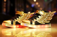 Wholesale Hot sale New Fashion Wings Children Sneakers gold Black Kids Light Shoes High Top Boy Girl luminous Led Shoes