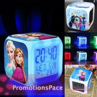 Wholesale 2015 Frozen Night Colorful Glowing Clock Hot frozen Retail New LED Colors Change Digital Alarm Clock Anna and Elsa Thermometer
