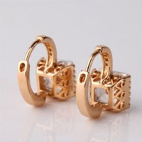 Wholesale Luxury Fashion k Gold Filled Earing White Stones Swiss Cubic Zirconia Earings Round Hoop Earring E302e