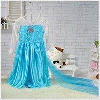 Wholesale Frozen Princess Dresses Blue Elsa Girl Dresses White Lace Wape Girls New Fashion Frozen Dresses kids clothes