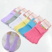 cotton five toe socks - 1 Pair New Toe Socks Cotton Women Summer Thin Solid Candy Colors Toe Sox Five Fingers Superelastic Socks