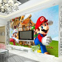 backgrounds games - Super Mario Photo Wallpaper Personalized Custom D Wall Mural Game Wallpaper Children s room Boys Bedroom Room Decor Sofa background wall
