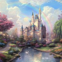 background for photo - Thin Vinyl Photography Backdrop Fairy tale Rainbow and Castle Pattern Photo Studio Background High Quality Backdrops For Sale x7ft DB759