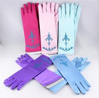 Wholesale Full finger printing gloves frozen elsa kids gloves costume Long Blue red snow Queen Elsa Cartoon Party Costumes children s gloves warmers